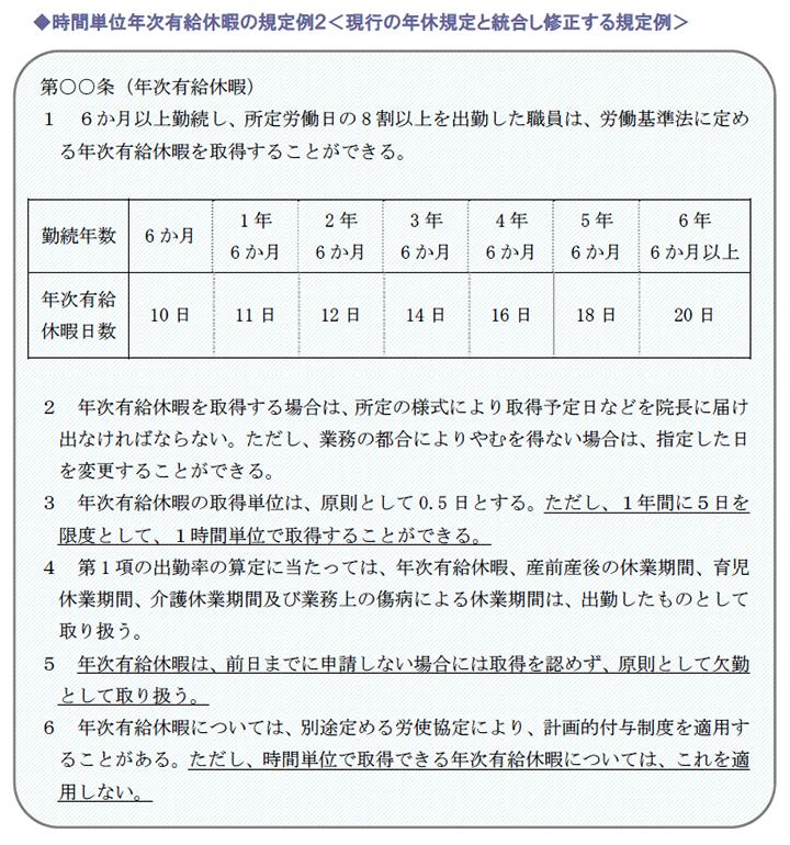 時間単位年次有給休暇の規定例2<現行の年休規定と統合し修正する規定例>