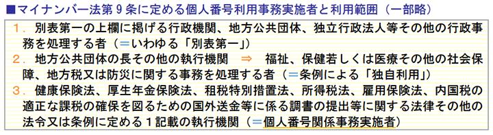 マイナンバー法第9 条に定める個人番号利用事務実施者と利用範囲(一部略)