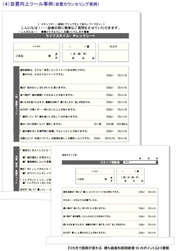 自費向上ツール事例(自費カウンセリング表例)