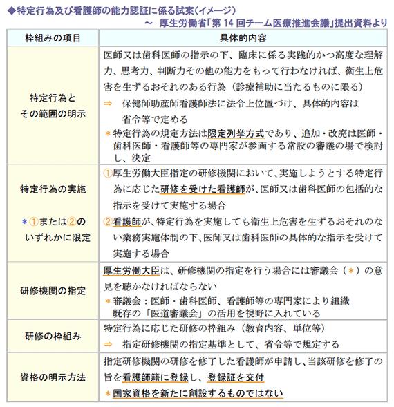 特定行為及び看護師の能力認証に係る試案(イメージ)