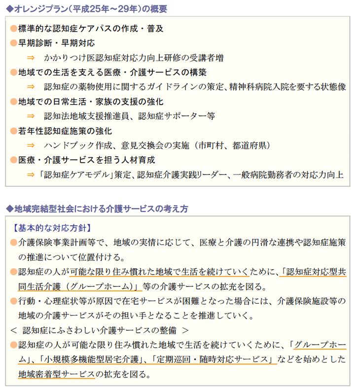オレンジプラン(平成25年~29年)の概要、地域完結型社会における介護サービスの考え方