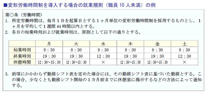 変形労働時間制を導入する場合の就業規則(職員10人未満)の例