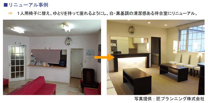 1人用椅子に替え、ゆとりを持って座れるようにし、白・黒基調の清潔感ある待合室にリニューアル。