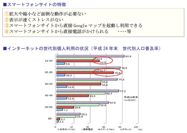 スマートフォンサイトの特徴、インターネットの世代別個人利用の状況(平成24年末 世代別人口普及率)