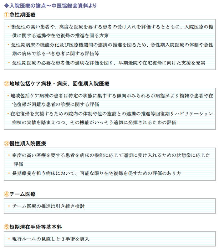 入院医療の論点~中医協総会資料より