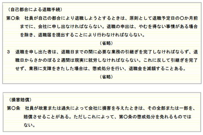 就業規則に記載する場合の記載例