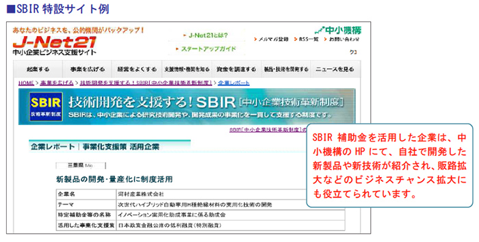 SBIR特設サイト例