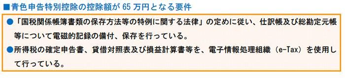 青色申告特別控除の控除額が65万円となる要件