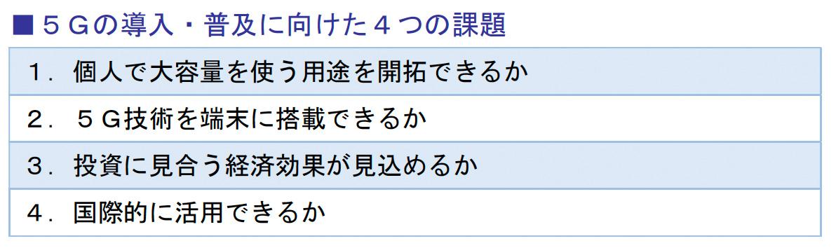 5Gの導入・普及に向けた4つの課題