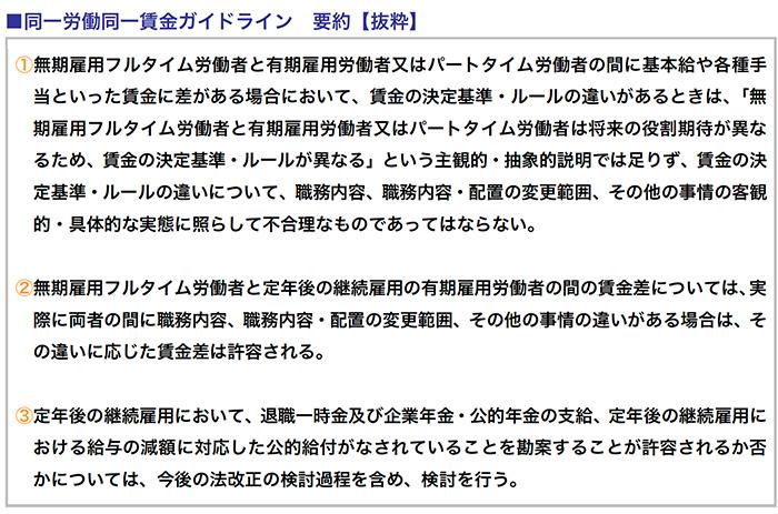 同一労働同一賃金ガイドライン 要約【抜粋】