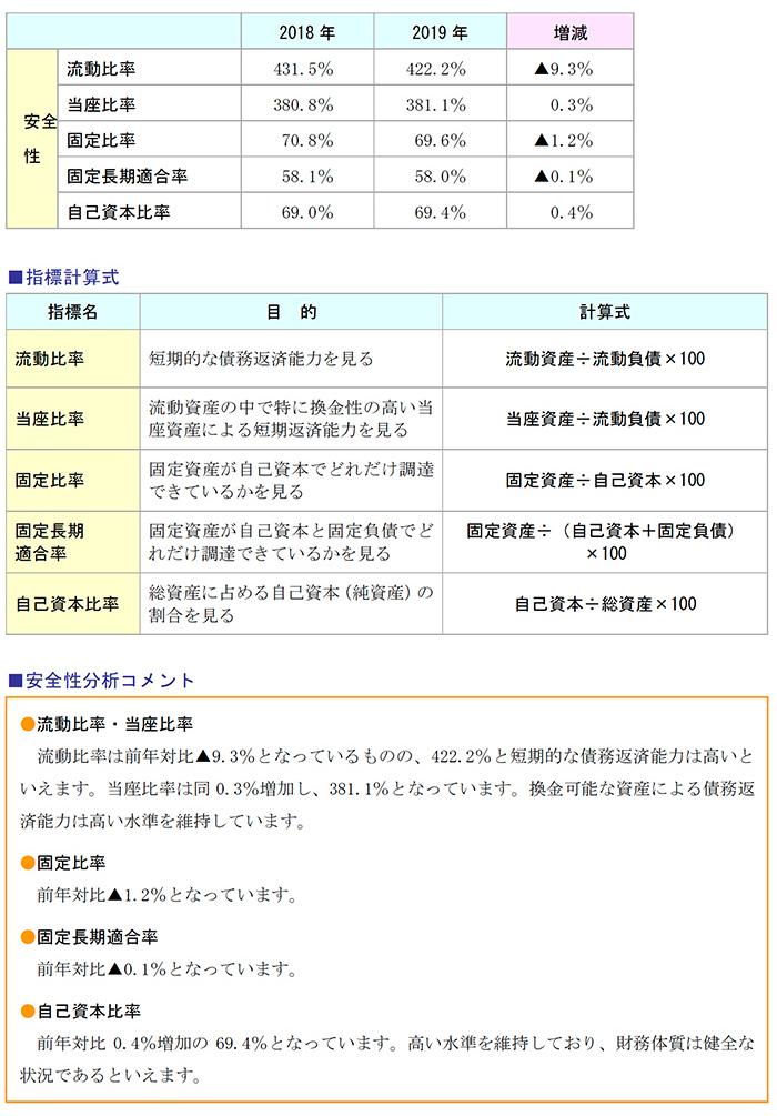 指標計算式、安全性分析コメント